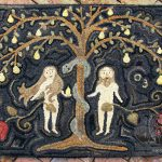 Adam and Eve with Silver Serpet Rug designed and hooked by Tish Bachleda