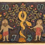 Adam and Eve with Pomegranates Rug - hooked rug design by Tish Bachleda