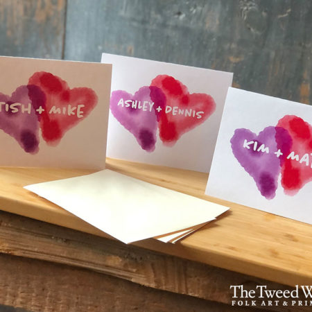 Watercolor Hearts Custom Artisan Cards Design by Tish and Mike Bachleda