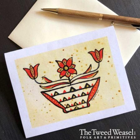 Red Flower Basket Artisan Card Design by Tish and Mike Bachleda