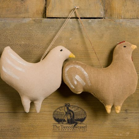 Barnyard hen and rooster ornaments designed by Tish Bachleda