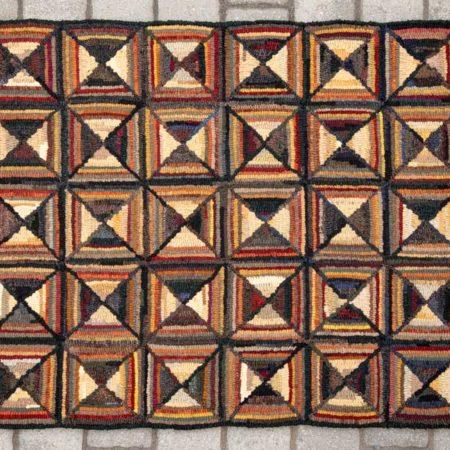 Bowtie Geometric Hooked Rug Designed by Tish Bachleda