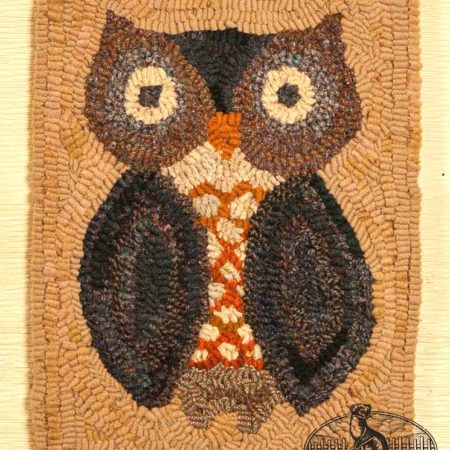 Fall Owl Rug designed and hooked by Tish Bachleda
