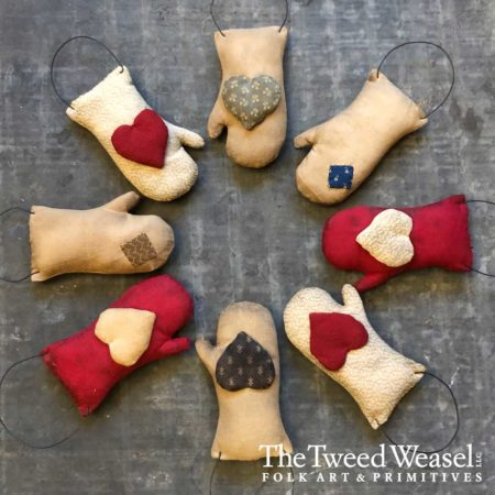 Heart and Patch Mitten Ornaments Designed by Tish Bachleda