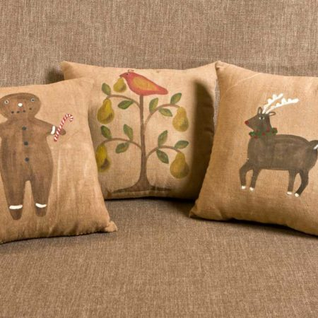Gingerbread Boy, Peartree, Rudolph Holiday Pillow Designs by Tish Bachleda