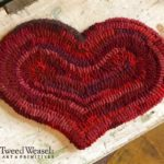 Small Red Hooked Heart Mat designed and hooked by Tish Bachleda