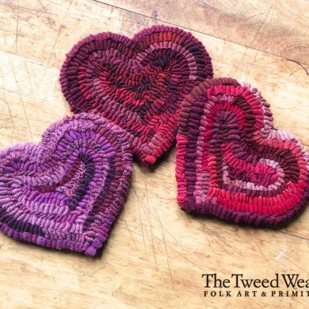Hooked Heart Mug Rugs designed and hooked by Tish Bachleda