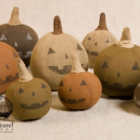 Hand stitched and painted jackolanterns by Tish Bachleda