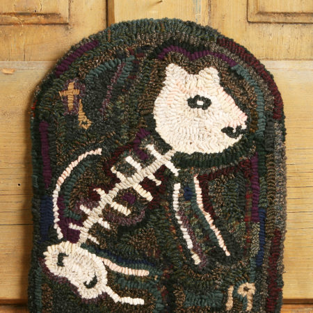 Kitty Skeleton Hooked Rug Design by Tish Bachleda