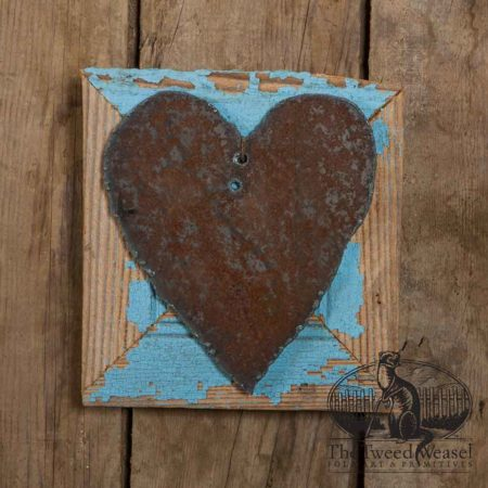 Rusty Steel Heart Mounted on Vintage Blue Wood Frame design by Tish Bachleda