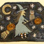 Midnight Ride hooked rug design by Tish Bachleda, showing witch flying near moon and stars with cat and jack-o-lantern sitting on broomstick.