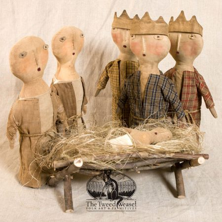 Nativity Sets designed and handmade by Tish Bachleda. One set includes Mary, Joseph, plus Jesus in his manger. The other set includes the three wise men.