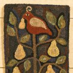 Partridge in a Pear Tree rug designed and hooked by Tish Bachleda