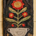 Potted Red Flowers Hooked Rug Design by Tish Bachleda