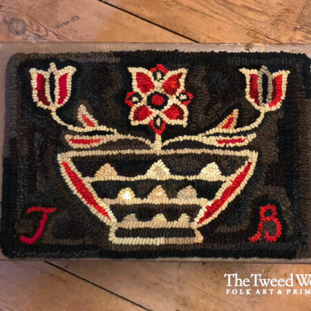 Red Flower Basket Hooked Rug Design by Tish Bachleda