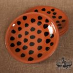 Black Spotted Redware 10-Inch Plate Designed by Bachleda Tulipware
