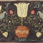 Large Redware Floral Hooked Rug design by Tish Bachleda