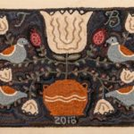 Small Redware Floral Hooked Rug design by Tish Bachleda