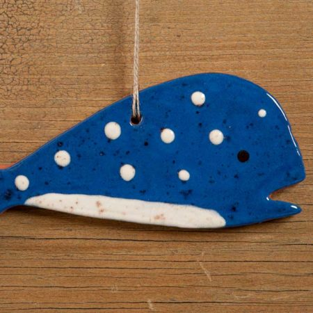 Blue Whale Redware Ornament Design by Bachleda Tulipware