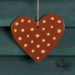 Dotted Heart Redware Ornament design by Bachleda Tulipware