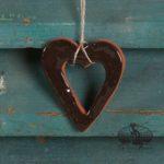 Small Black Open Heart Redware Ornament design by Bachleda Tulipware