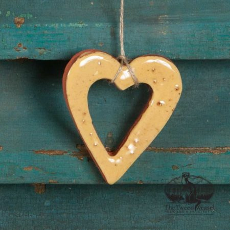 Small Yellow Open Heart Redware Ornament design by Bachleda Tulipware