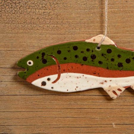 Rainbow Trout Redware Ornament design by Bachleda Tulipware