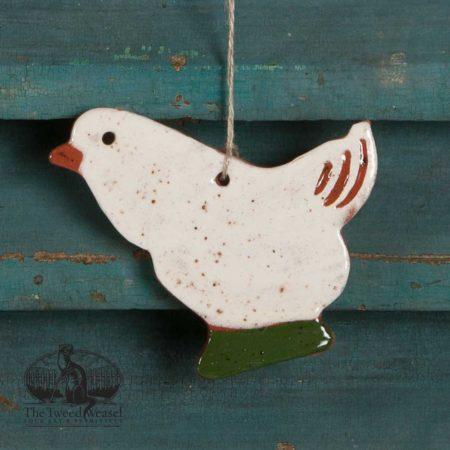 White Hen Redware Ornament design by Bachleda Tulipware