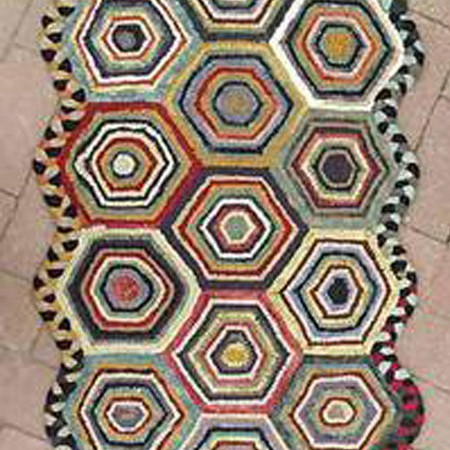 19 Hexagons Rug - desogned and hooked by Tish Bachleda