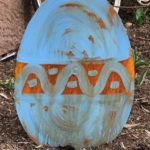 Rusted Steel Easter Egg Standing Blue Design by Mike and Tish Bachleda
