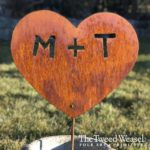 Medium Size Rusted Steel Initialed Heart Garden Stake Design by Tish and Mike Bachleda