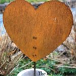 Medium Size Rusted Steel Solid Heart Garden Stake Design by Tish and Mike Bachleda