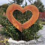 Medium Size Rusted Steel Open Heart Garden Stake Design by Tish and Mike Bachleda