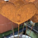 Small Size Rusted Steel Solid Heart Garden Stake Design by Tish and Mike Bachleda