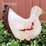 White Rusted Steel Hen Design by Mike and Tish Bachleda