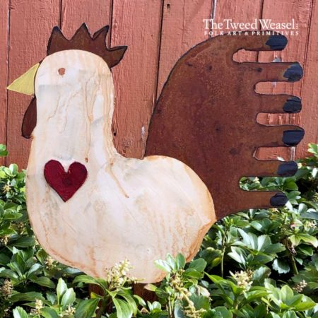 White Rusted Steel Rooster Heart Design by Mike and Tish Bachleda