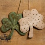 Painted Green and Sewn Dots Cream Shamrock Ornament Design by Tish Bachleda