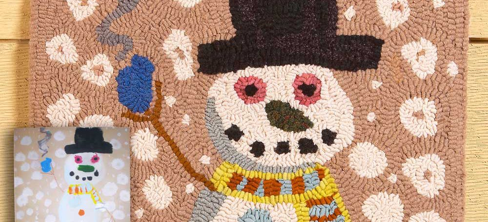 Snowman and Puppy Keepsake Rug designed and hooked by Tish Bachleda