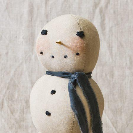 Snowman on Pedestal folk art doll designed by Tish Bachleda