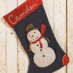 Personalized Hooked Snowman Christmas Stocking by Tish Bachleda