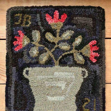 Stoneware Crock Floral Hooked Rug Design by Tish Bachleda