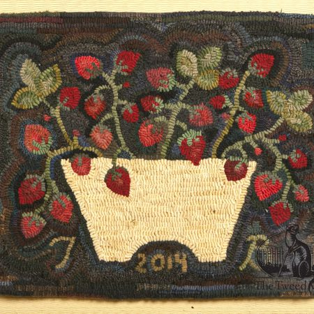 Strawberry Basket Hooked Rug designed and hooked by Tish Bachleda