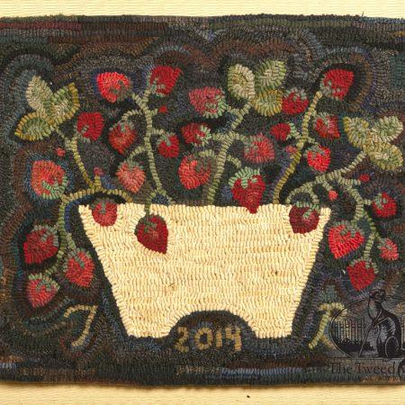 Strawberry Basket Hooked Rug designed and hooked by Tish Bachleda